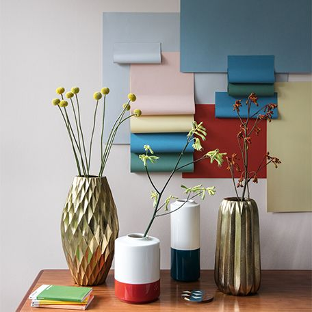 Modern graphic colour pop and gold vases