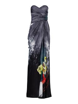 Floral print strapless gown with ruched top