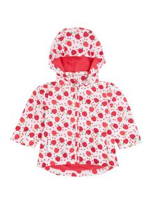 Girls Detachable Hooded Strawberry Printed Jacket