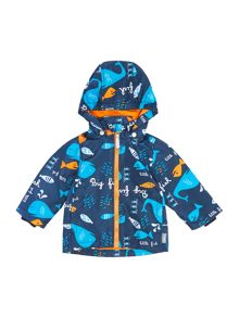 Boys Detachable Hooded Fish Printed Jacket