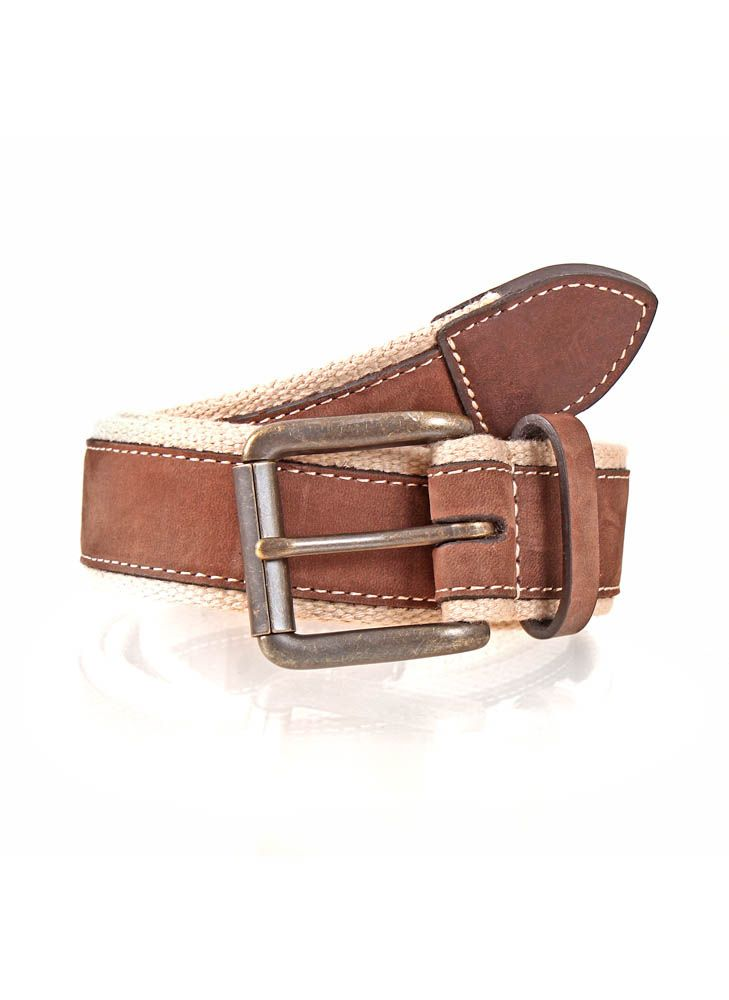 Webbing belt with leather trim