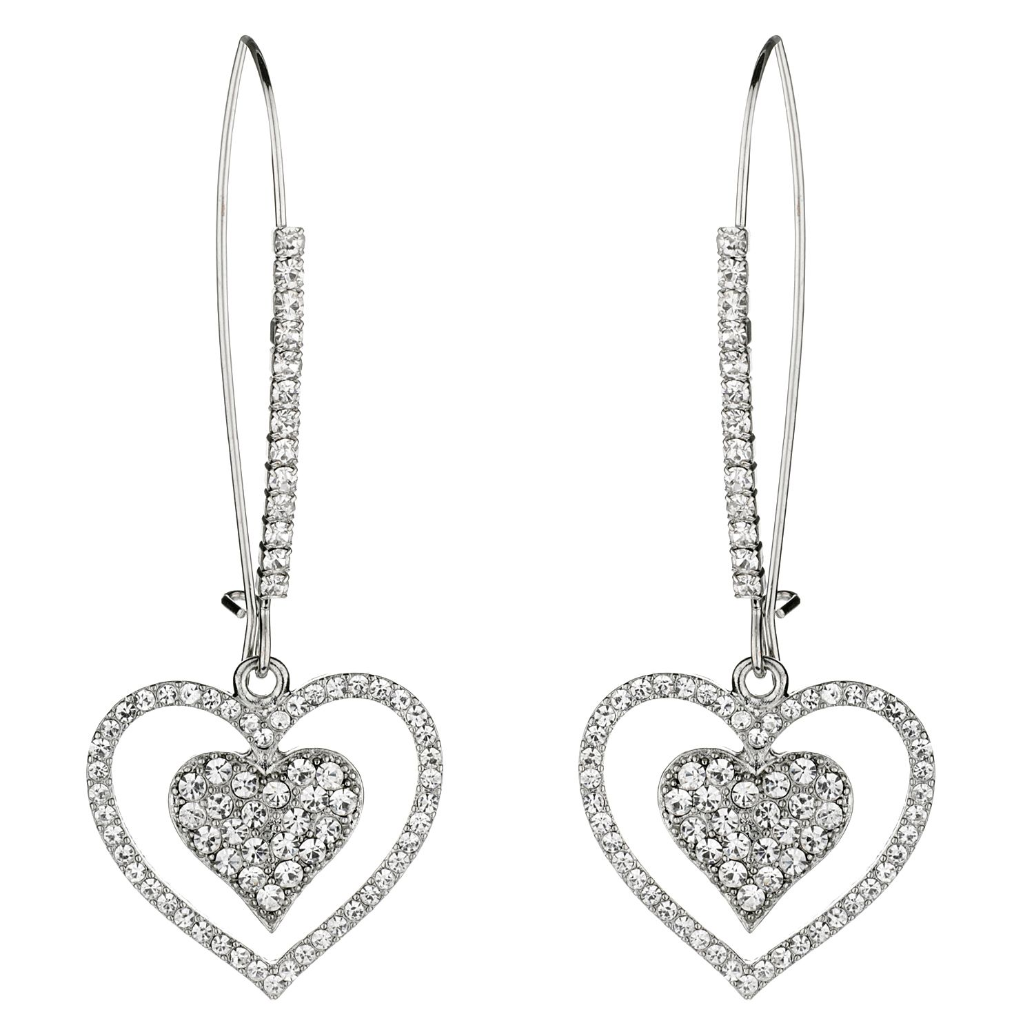 Mikey Rhinestone double heart earrings