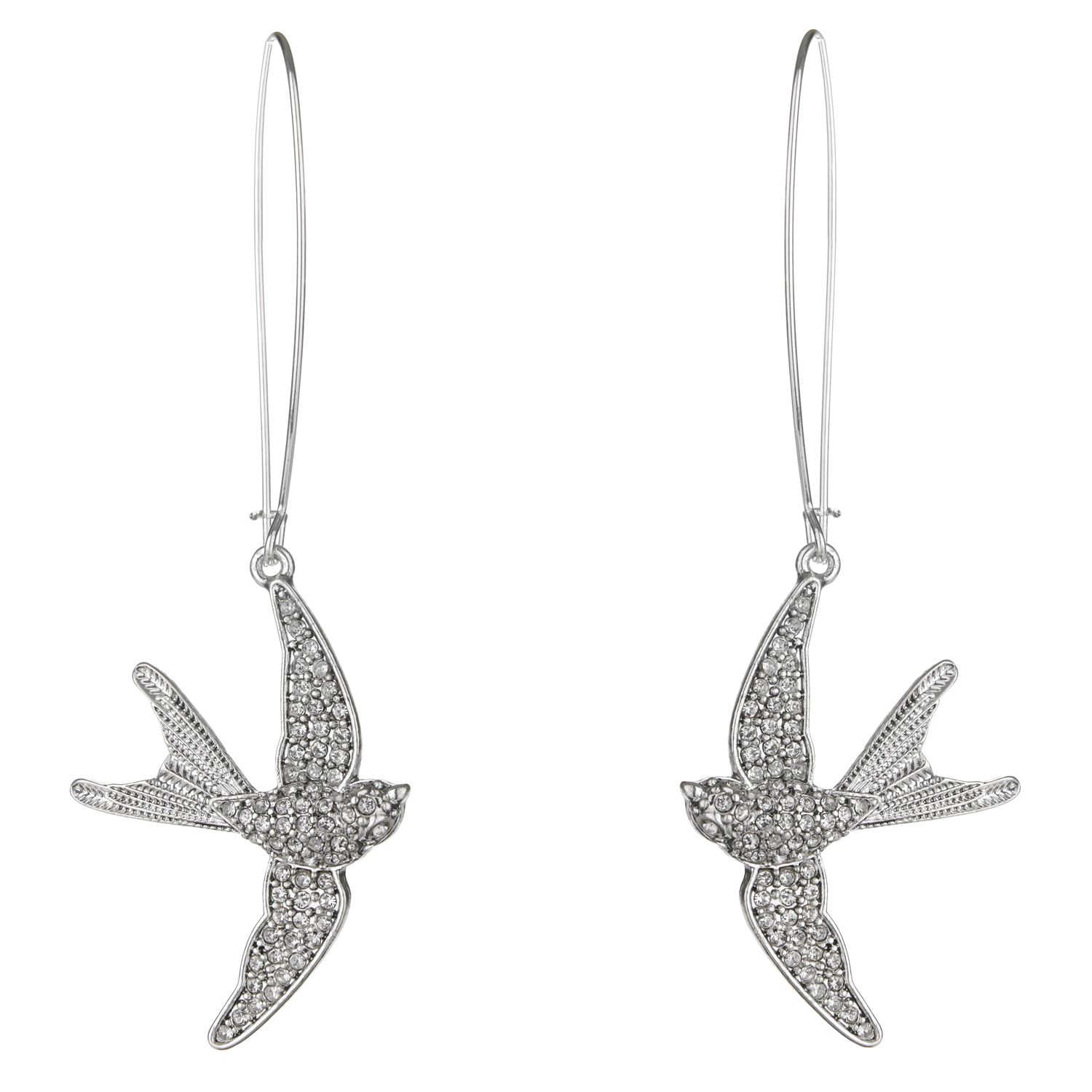 Pave bird earrings