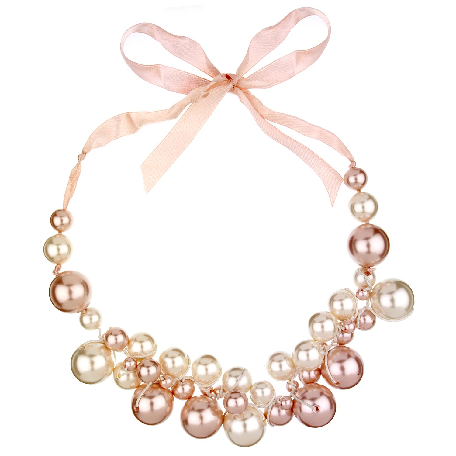 Pearl ribbon necklace for Ribbon tie necklace jewelry