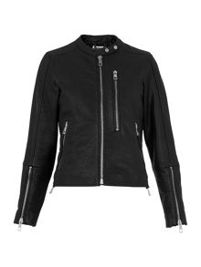 Whistles Drew Collarless Leather Biker