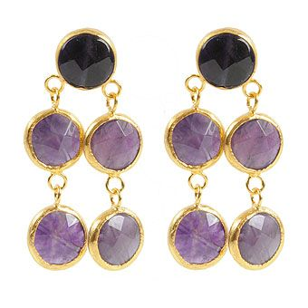 Amethyst Stone Brass Earrings
