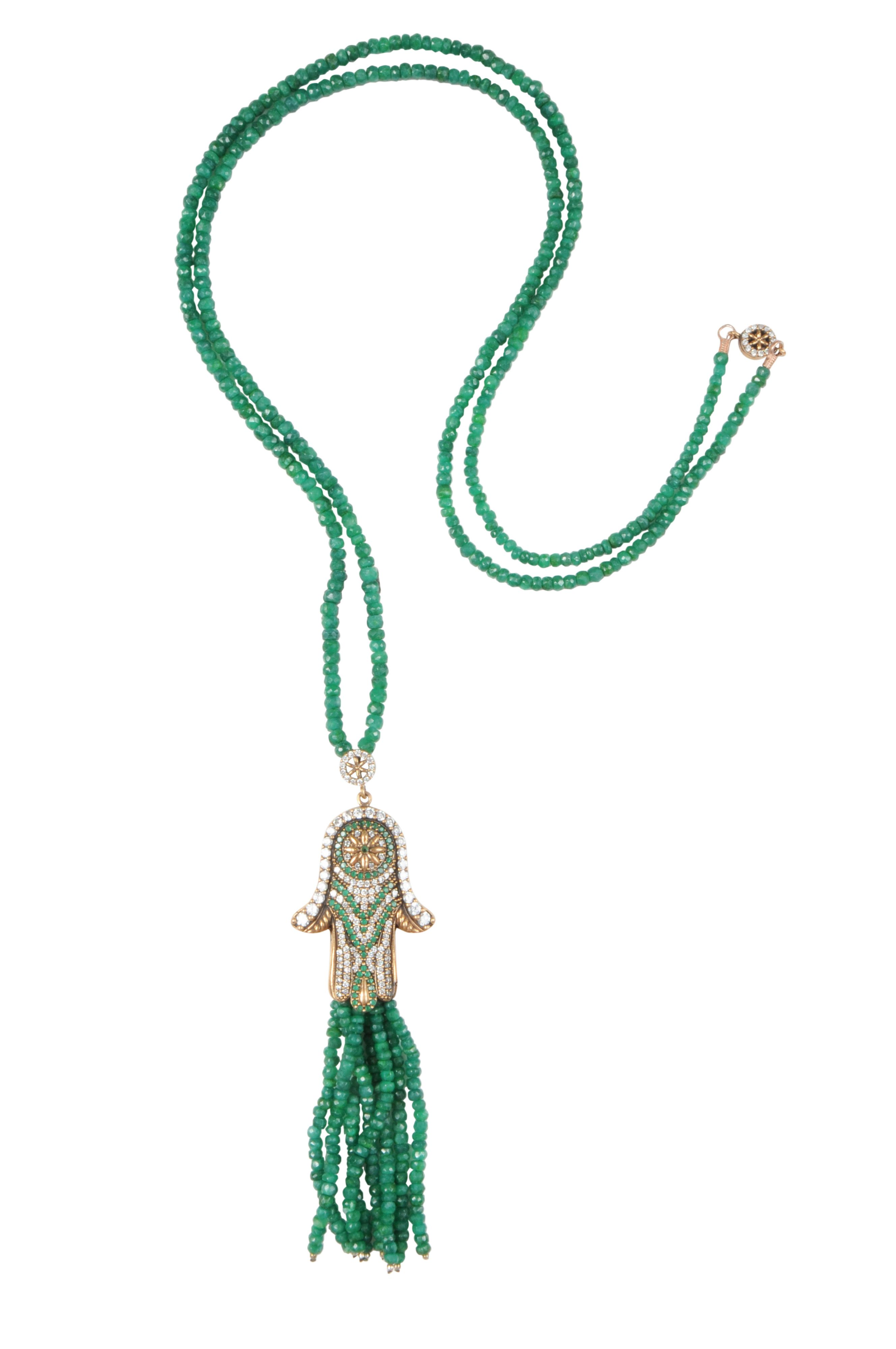 Fatima Hand Tassel Necklace