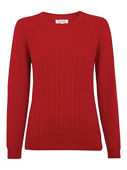 Round neck cable jumper