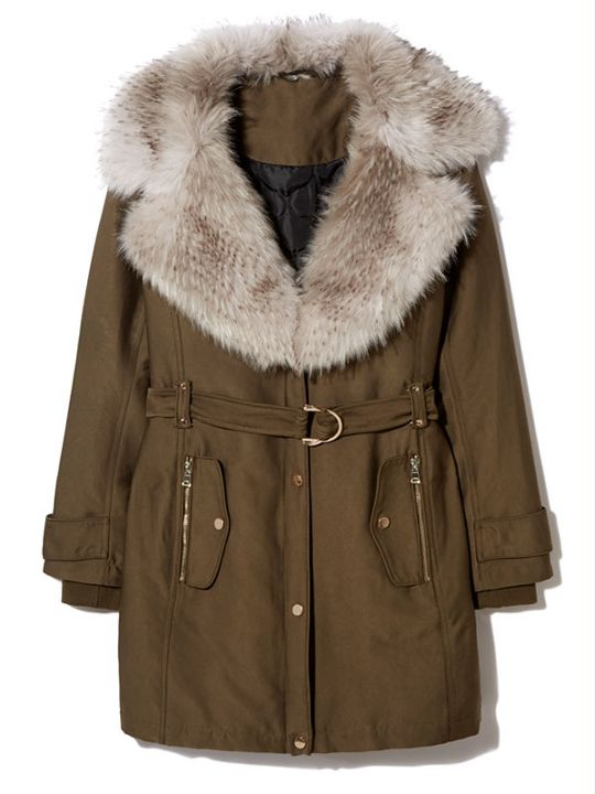 Biba Khaki Faux Fur Collar Coat