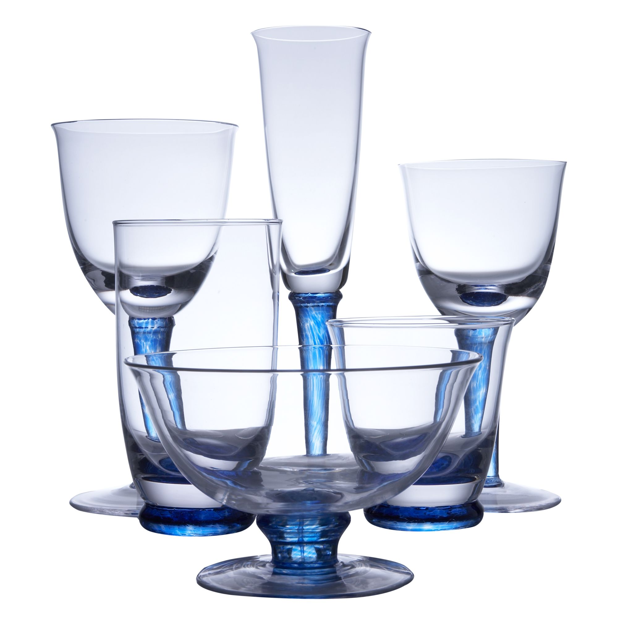 Denby Imperial Blue set of two white wine glasses