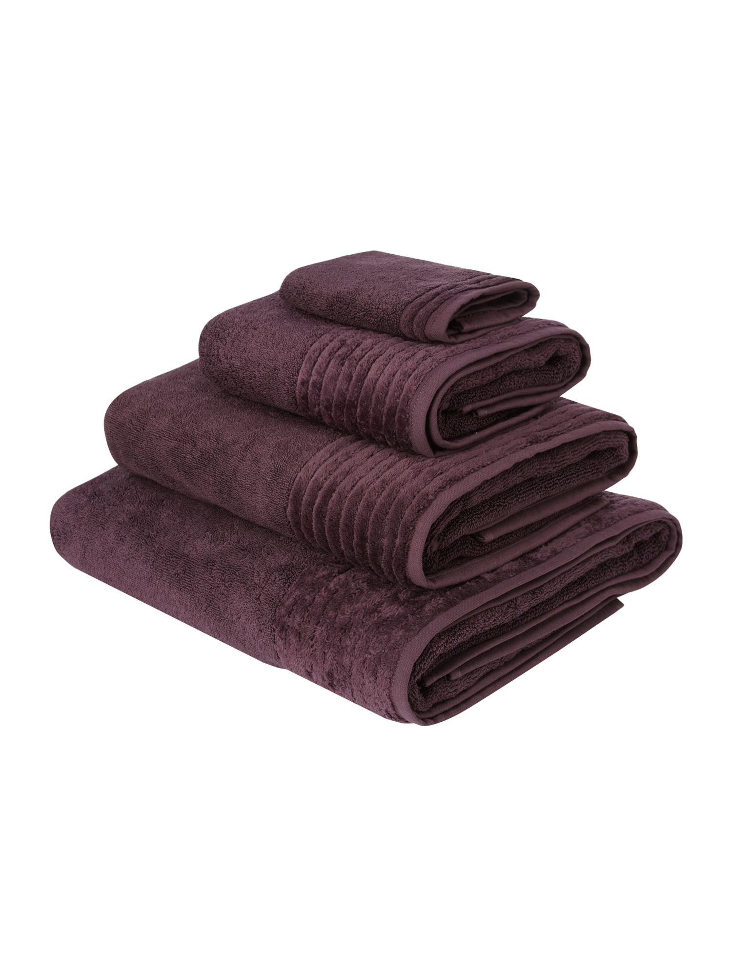 Spa supima cotton towels in aubergine