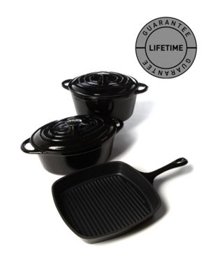 Linea Cast iron cookware in black