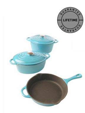 Linea Cast iron cookware in Teal