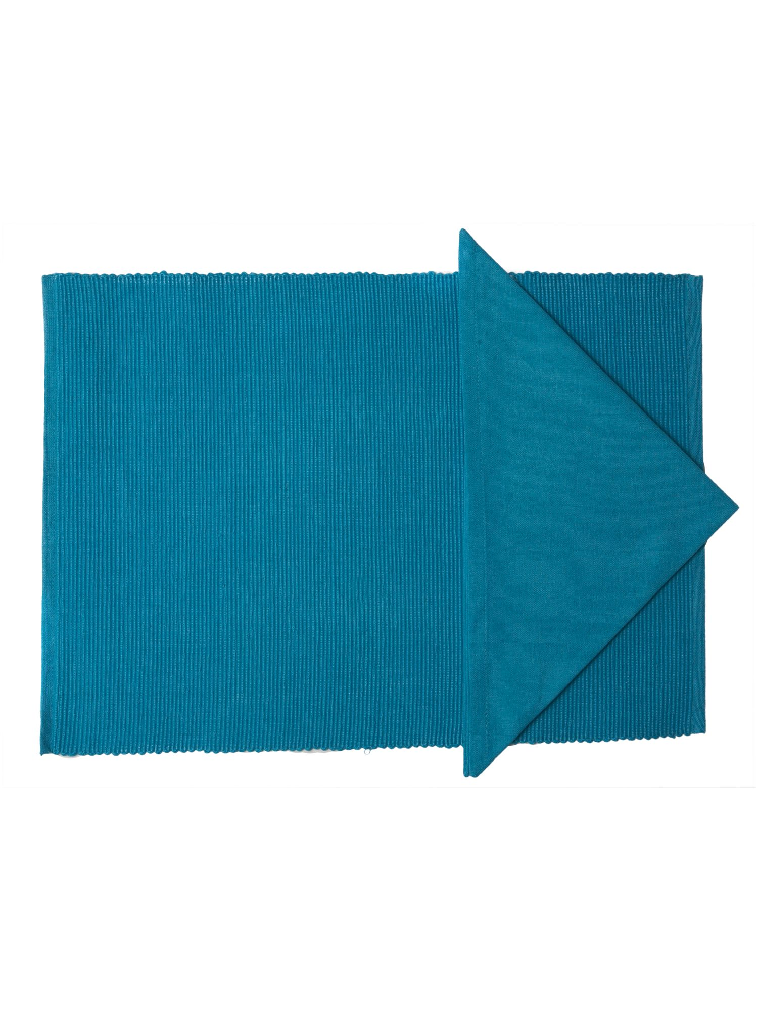 Collage tablelinen in turquoise