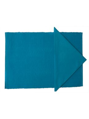 Linea Collage tablelinen in turquoise