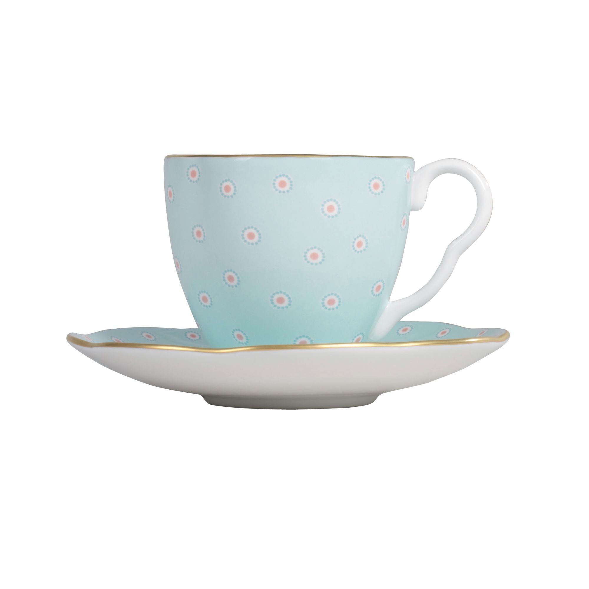 Polka Dot Cup and Saucer - Turquoise