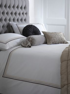 Pied a Terre Satin stitch bed linen in neutral