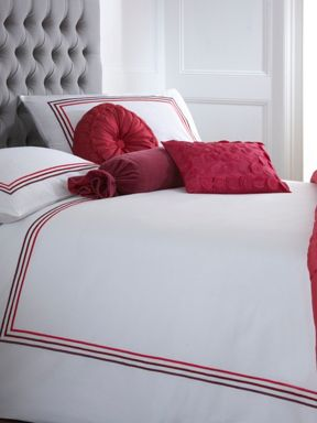 Pied a Terre Satin stitch bed linen in plum