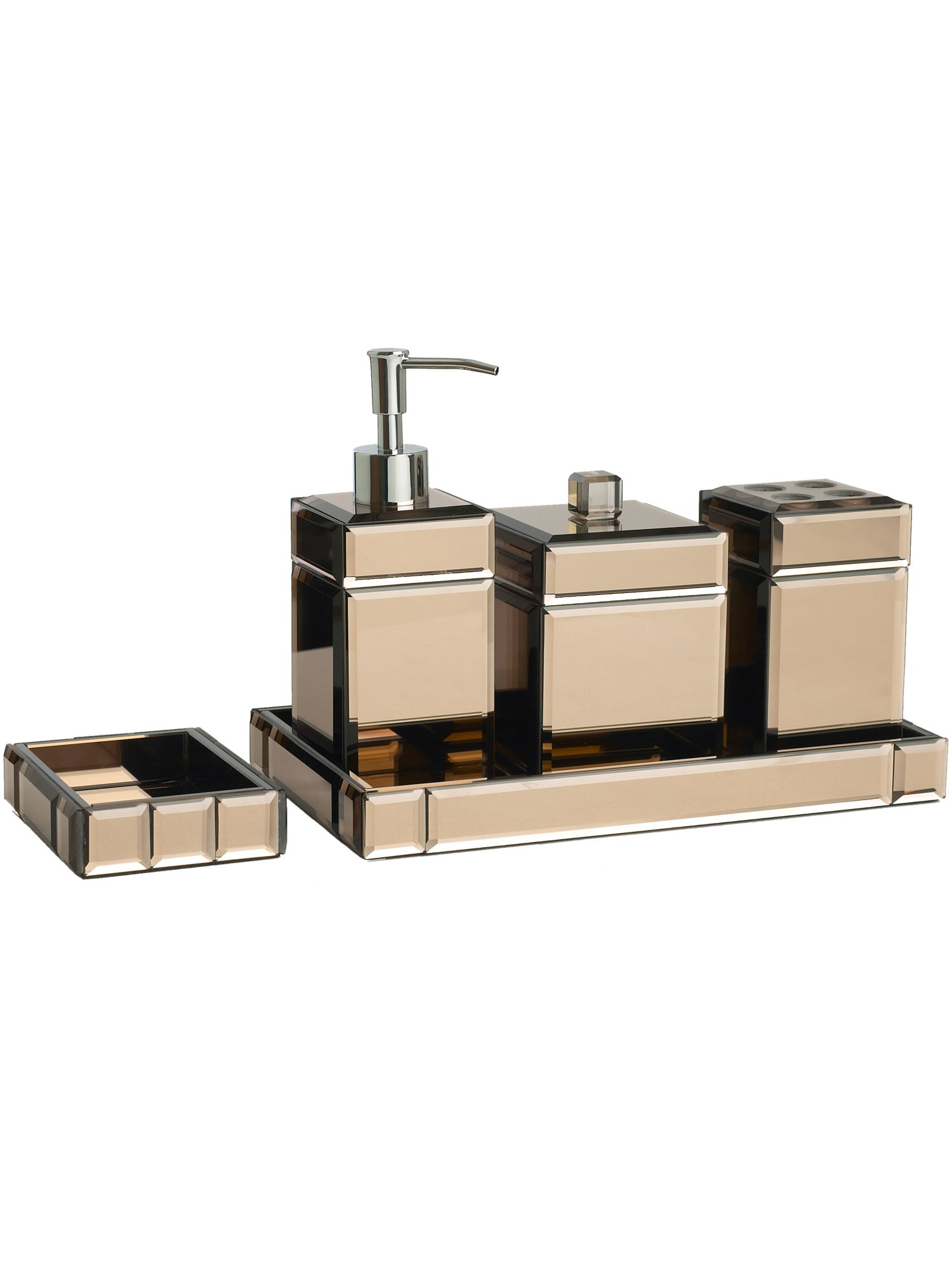 Pied a terre brown mirrored soap dish review compare for Mirrored bathroom accessories
