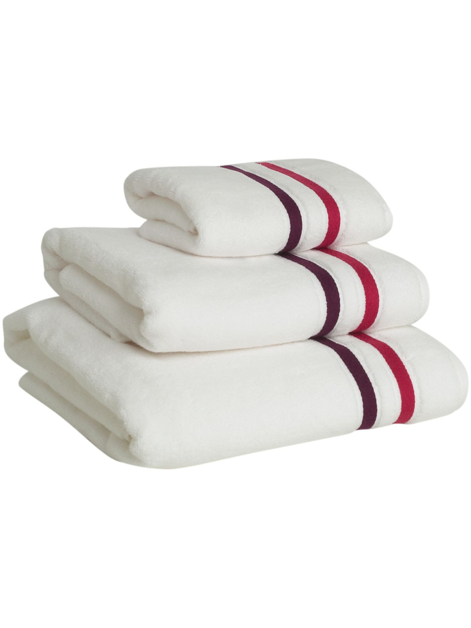 Weft insert towels in berry
