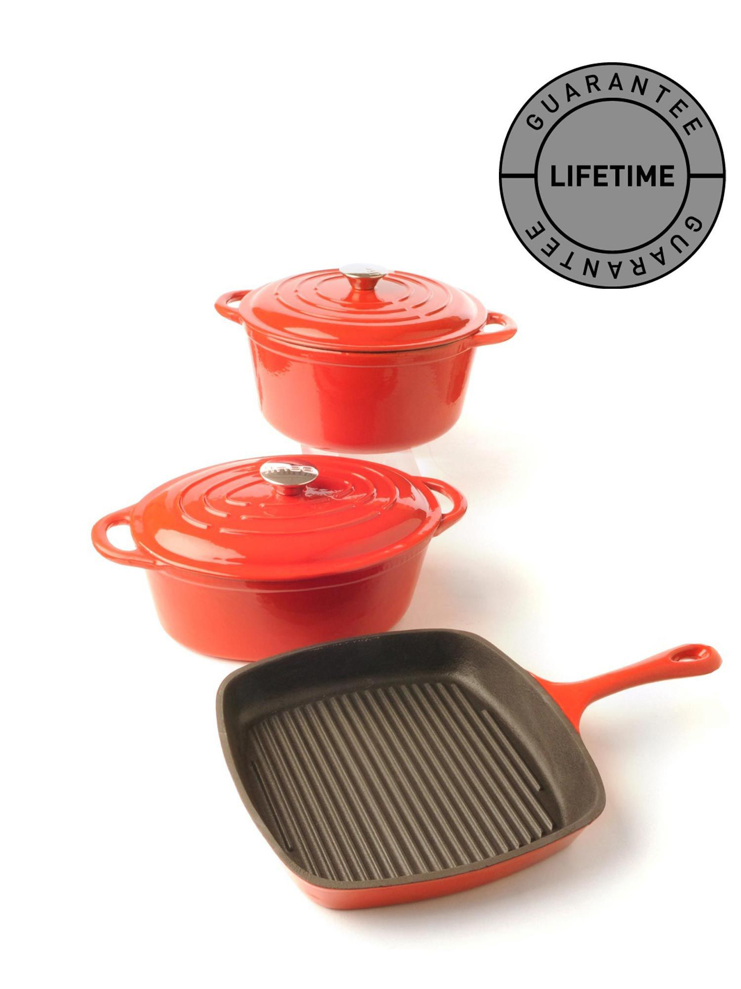 Cast iron cookware in red