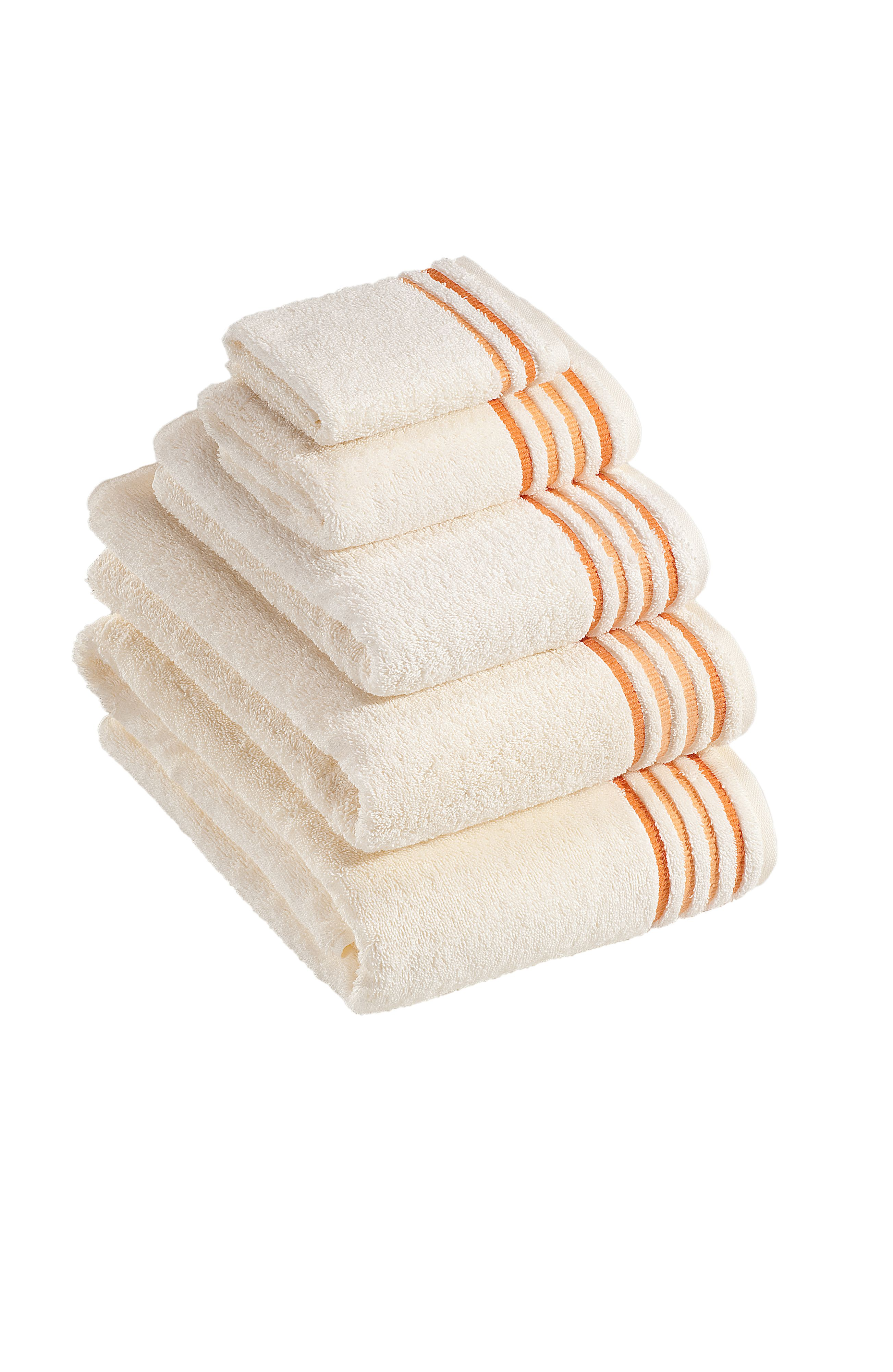 De Luxe towel range in ivory/orange