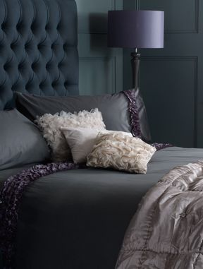 Pied a Terre Pleated ruffle charcoal bed linen