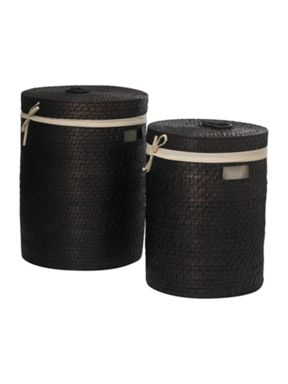 Linea Dark brown bamboo laundry baskets