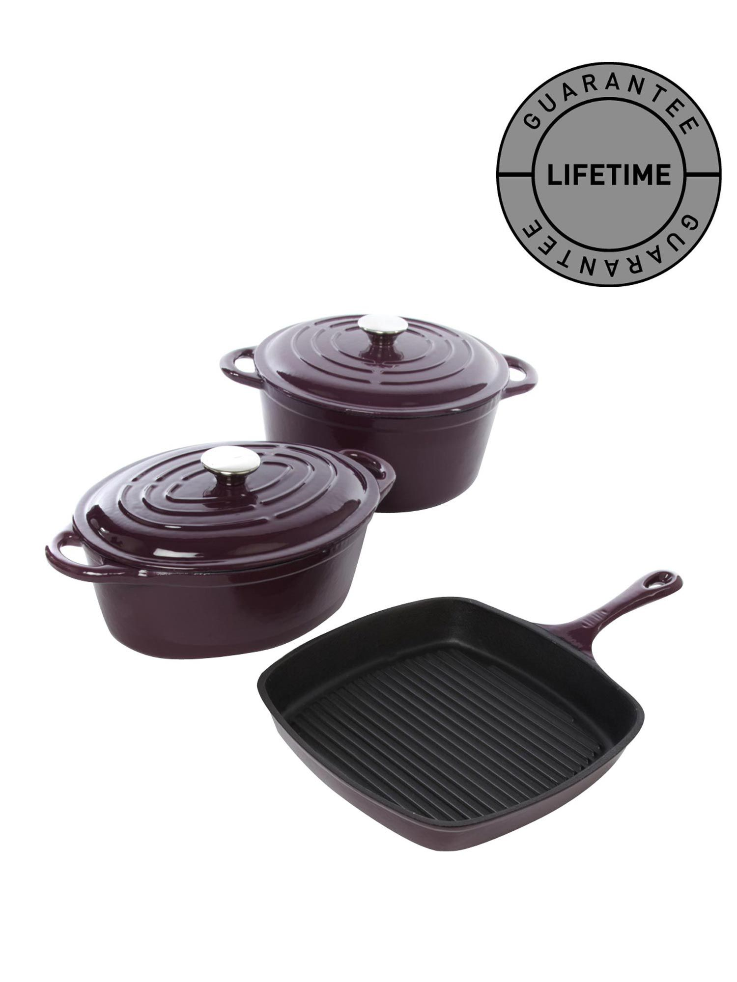 Cast iron cookware in aubergine