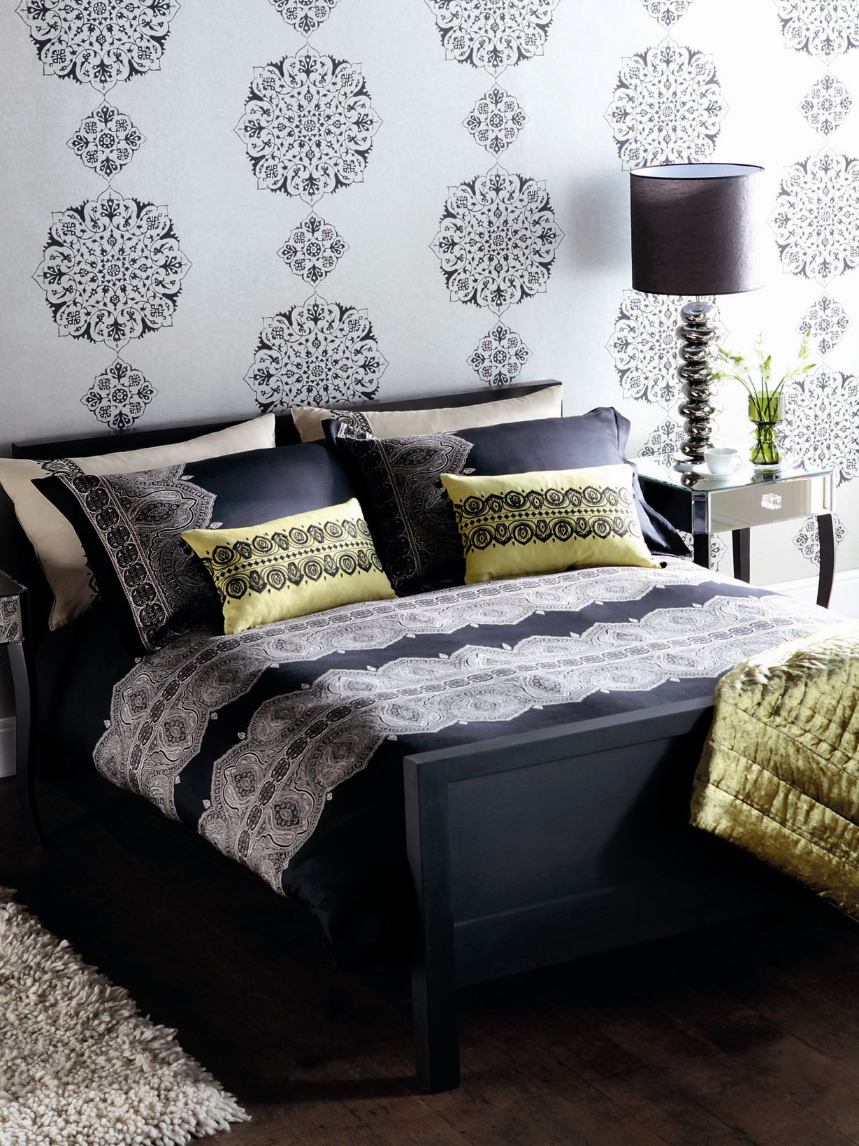 Azara black single duvet cover