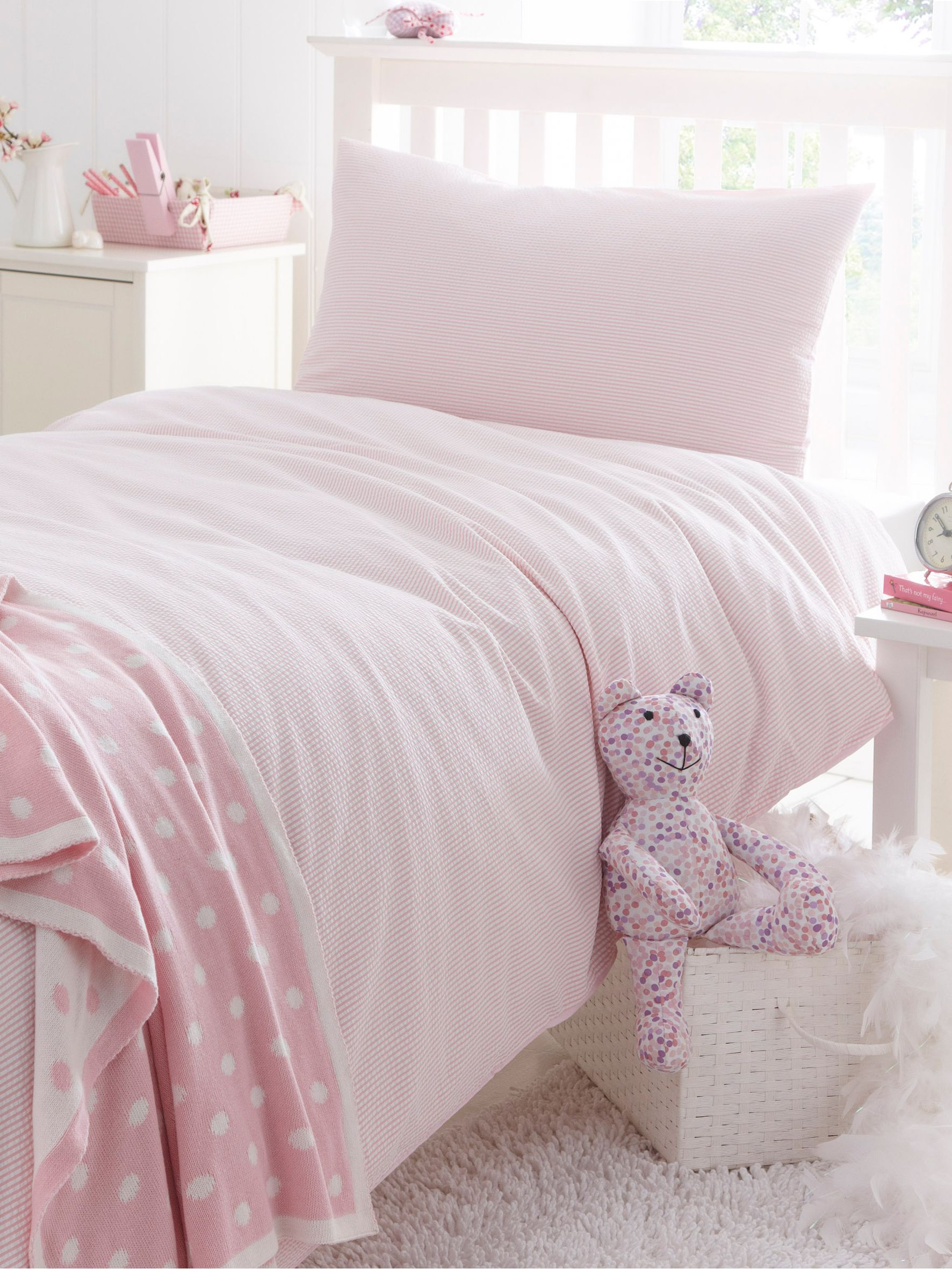 Seersucker double duvet cover set pink and white