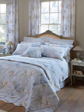 Christy Hydrangea Print bed linen in eau de nil