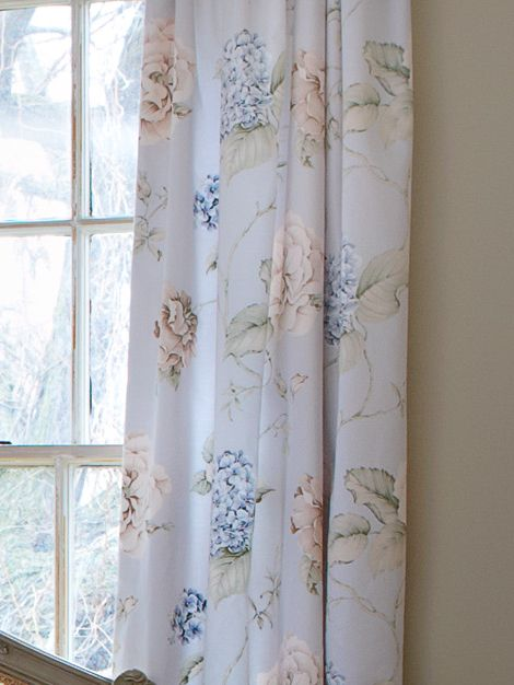 Hydrangea Print Lined Curtains 66x72 Eau