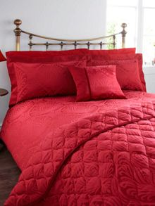 Linea Morris Jacquard single duvet cover crimson