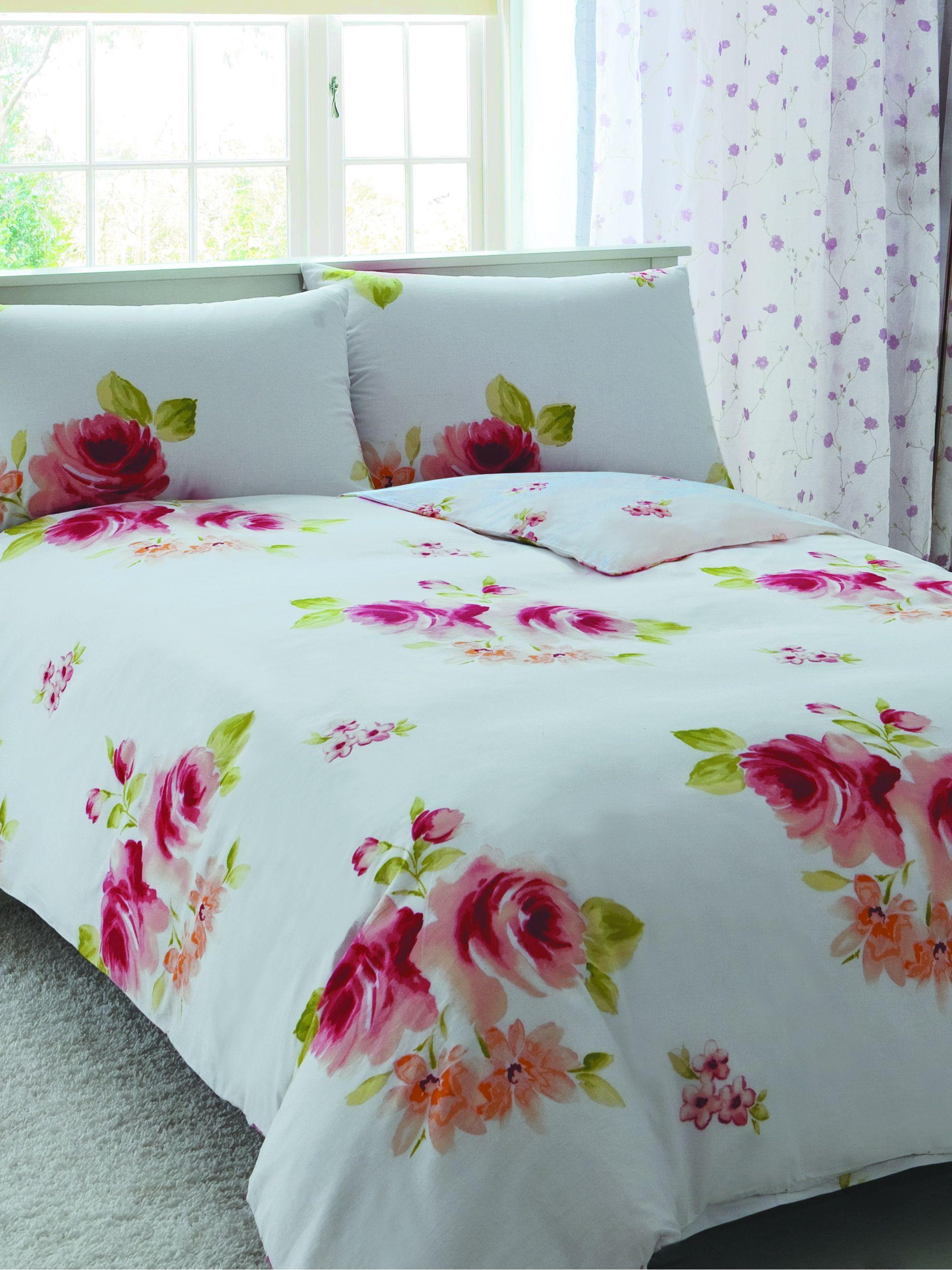 Painted flower single duvet cover set