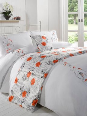 Linea Ribbon floral bed in a bag in coral