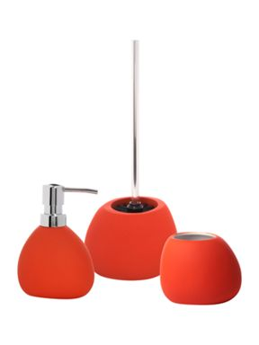 Soft touch bathroom accessories in flame