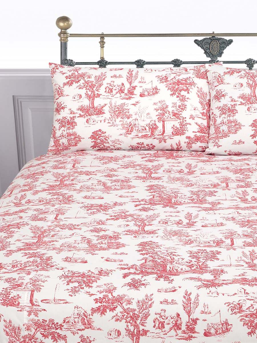 Toile single duvet cover set in red