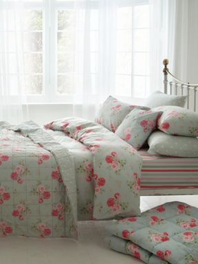 Cath Kidston Antique rose bed linen in duck egg