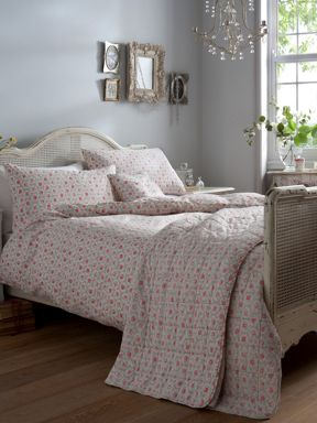Cath Kidston Provence rose bed linen in grey