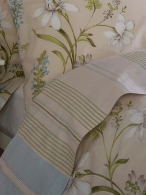 Christy Autumn stripe bed linen range in taupe