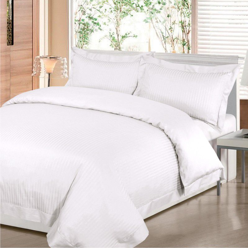 Satin Stripe bed linen in white