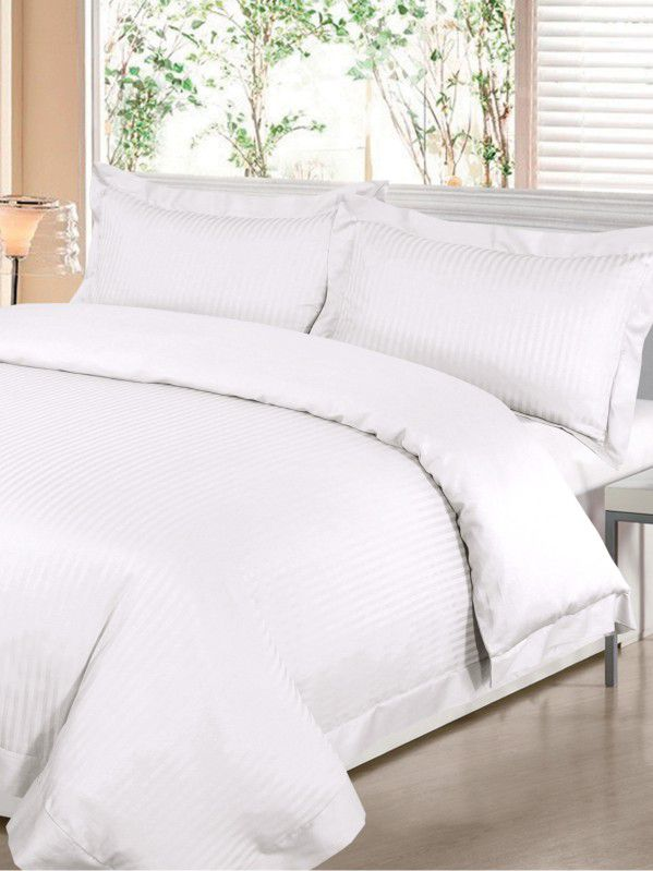 Satin stripe double duvet cover set in white