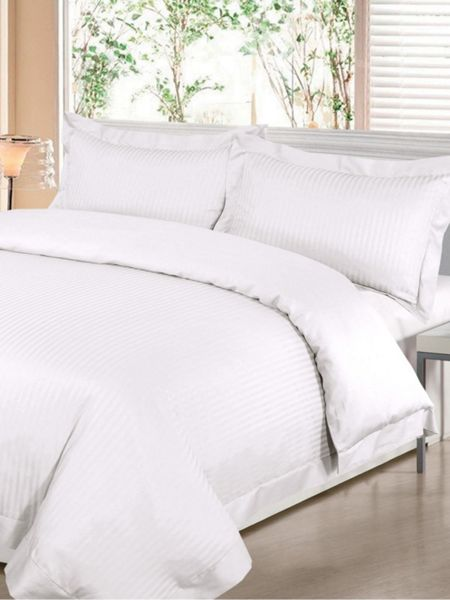 Luxury Hotel Collection Satin stripe king duvet cover set in white