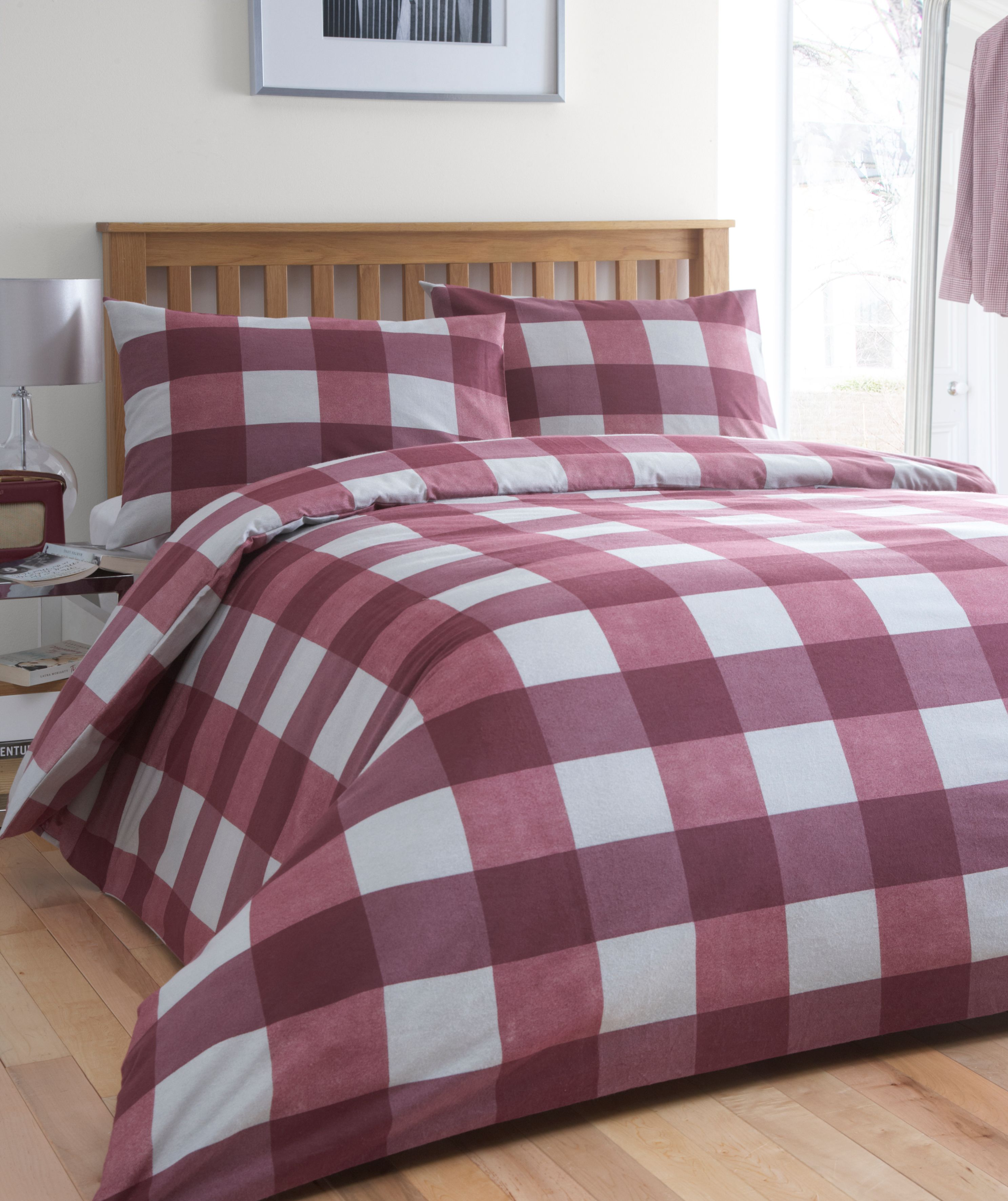 Brushed Cotton Check bed linen maroon