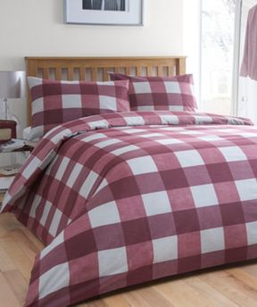 Linea Brushed Cotton Check bed linen maroon