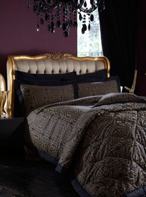 Biba Adrina bed linen in black and gold