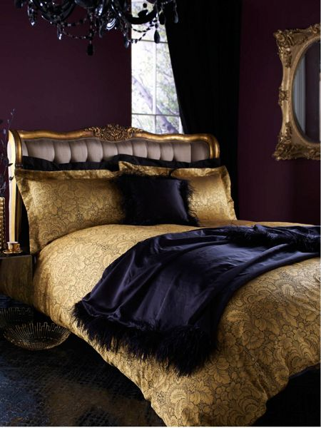 Biba Kareen Jacquard oxford pillowcase pair gold