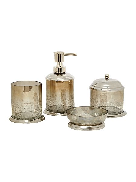 Linea linea crackle glass bathroom accessories house of for Bathroom accessories glass