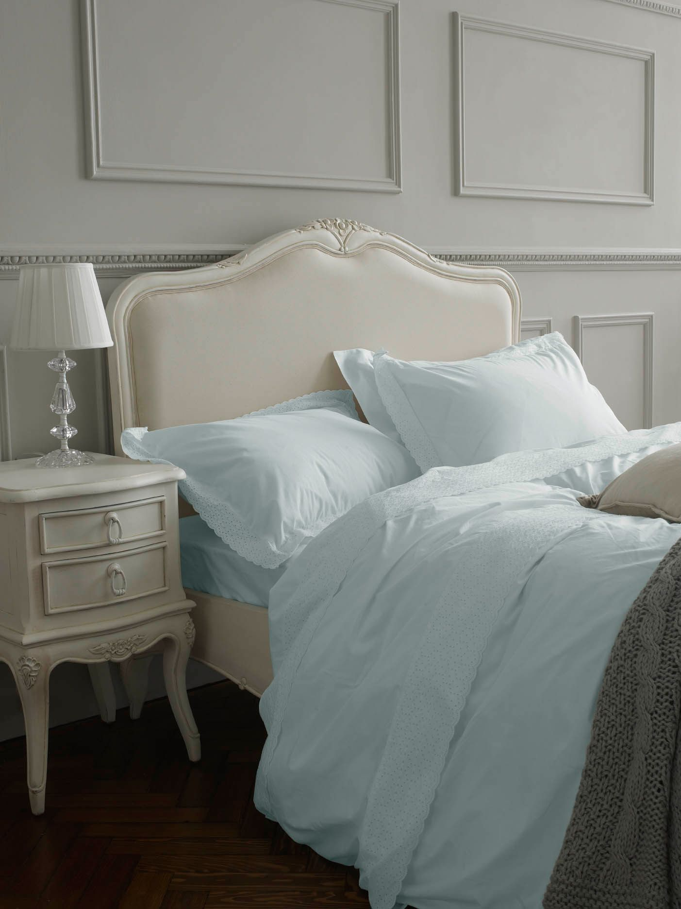 Embroidered Frill bed linen in duck egg